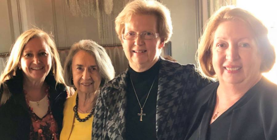 "With my ""frequent lunch"" friends Mary Frances Slaughter, Lisa Underwood, and Kathleen Cramer."